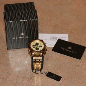 *New* Mens Bernoulli Gold Watch with Tag & Box